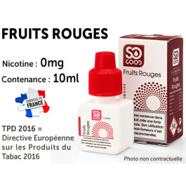 E-liquide SO GOOD framboise 0 de nicotine