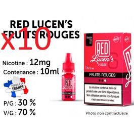 10 flacons Red lucen's fruits rouges 12mg/ml de nicotine
