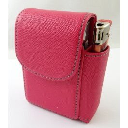 Etui cigarette simili cuir rose